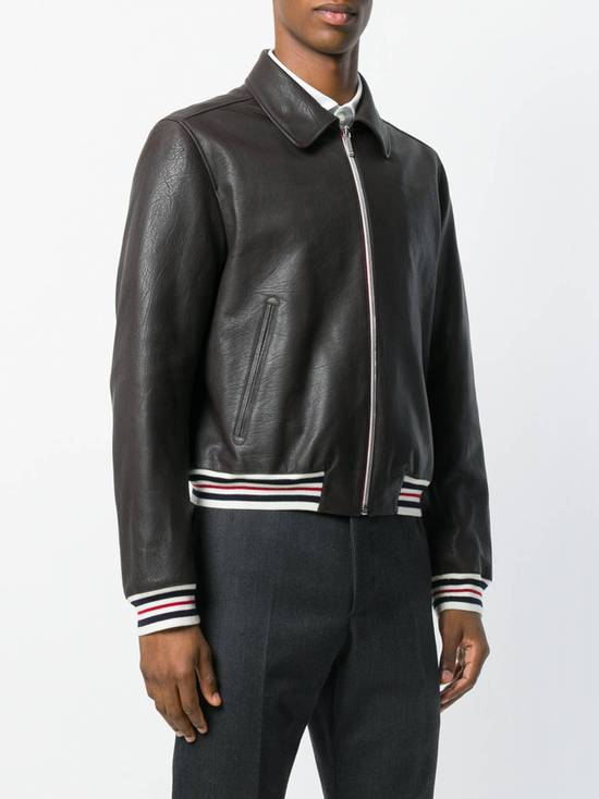Thom Browne NEW WITH TAG, Striped Detail Leather Jacket (SIZE 4 - FITS SMALLER) Size US XL / EU 56 / 4