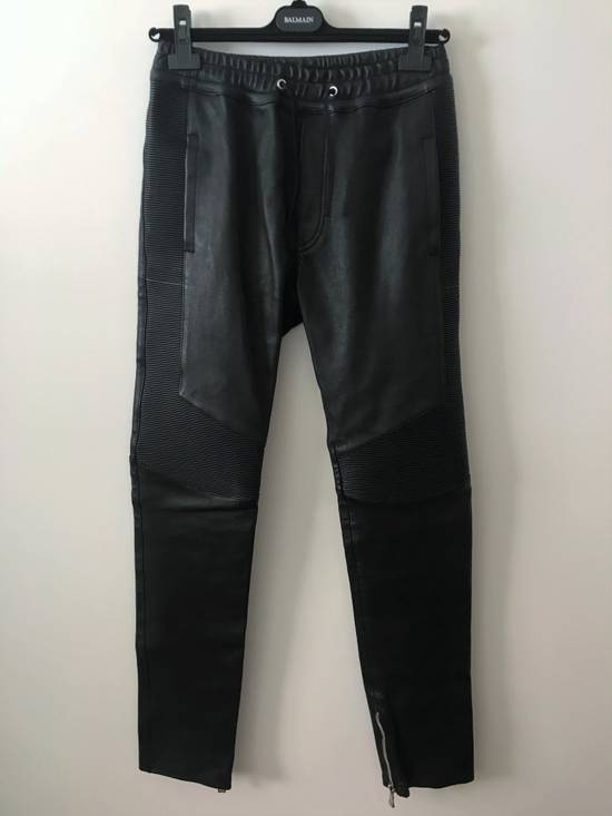Balmain LAST DROP! Size M Fits S - Slim Fit Leather Ribbed Biker Style Sweatpants - $3100 Retail Size US 30 / EU 46 - 5