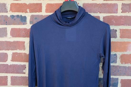 Balmain Blue Ribbed Knit Roll Neck T-shirt Size US M / EU 48-50 / 2 - 1