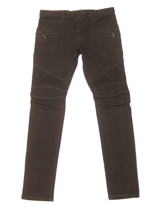 Balmain Classic Moto Jeans Made in Japan Style No. W4HT551C710W Black Coated Skinny Stretch Denim Biker Pants 32 x 32 Size US 32 / EU 48