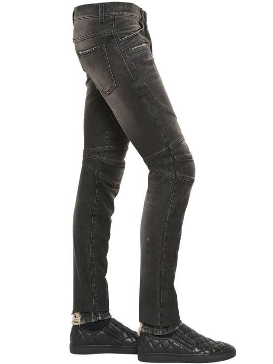 Balmain Balmain Washed Cotton Denim Black Biker $990 Authentic Jeans Size 31 New Size US 31 - 5