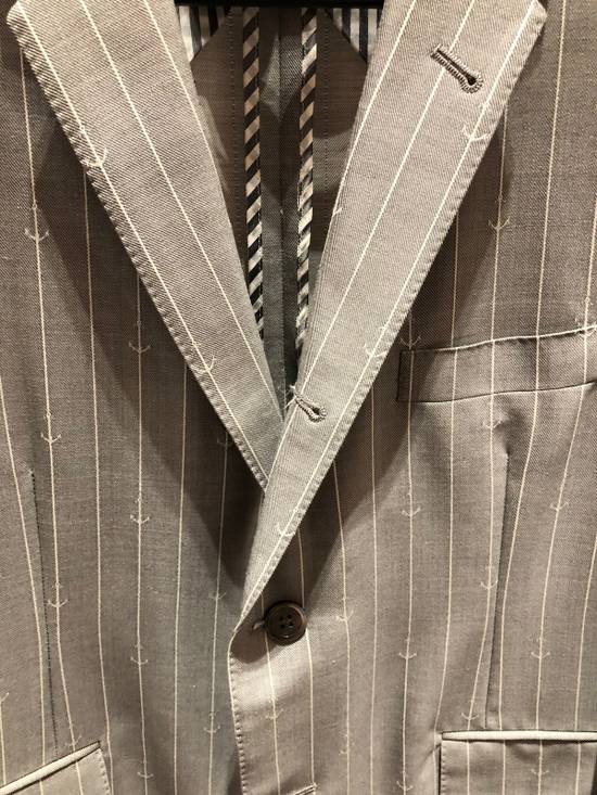 Thom Browne THOM BROWNE CLASSIC BLAZER IN GRAY/WHITE ANCHOR PINSTRIPE Size 40R - 2