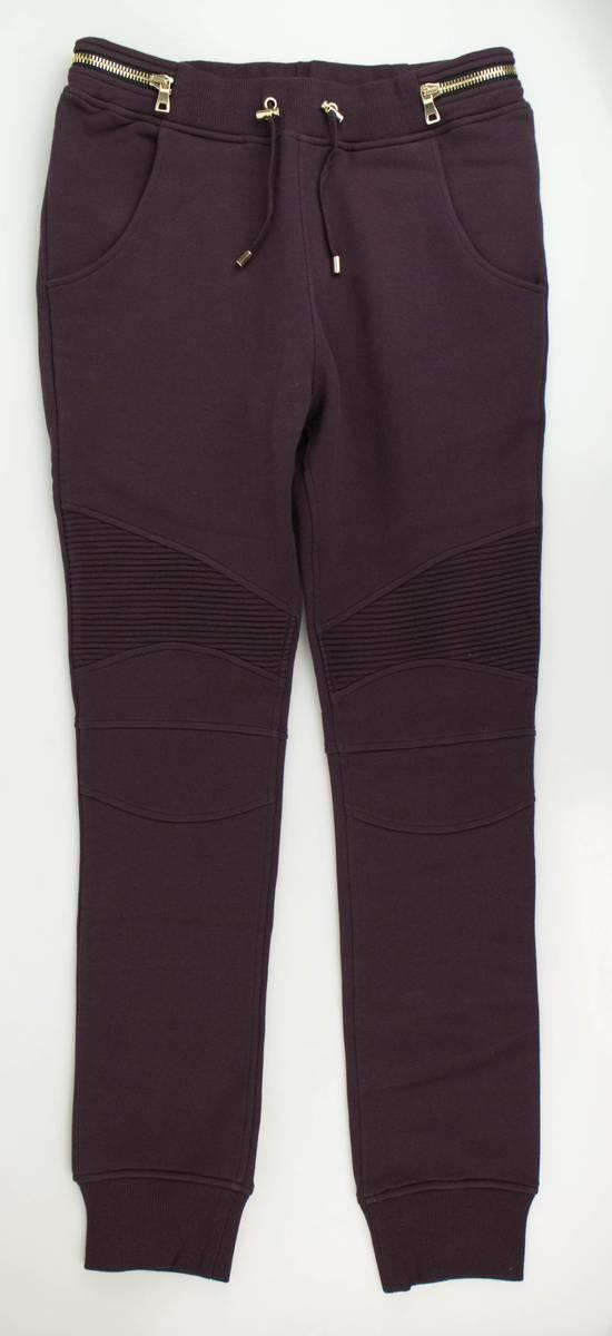 Balmain Men's Burgundy Cotton Leggings Biker Pants Size Large Size US 36 / EU 52 - 1