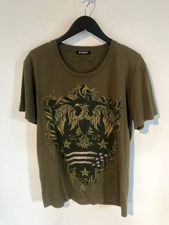 Balmain Balmain Khaki American Eagle Crest T-Shirt Size US L / EU 52-54 / 3