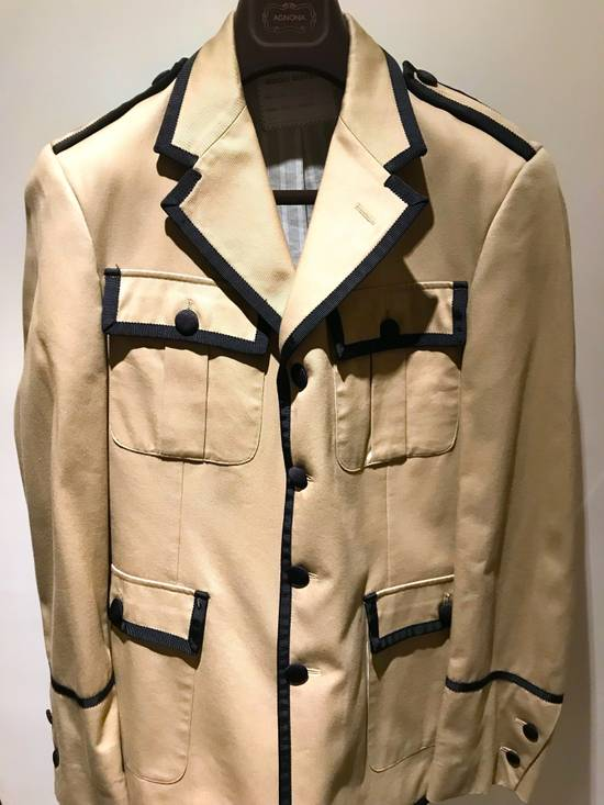 Thom Browne GROSGRAIN TRIMMED BEIGE MILITARY OFFICER JACKET Size 48R - 1