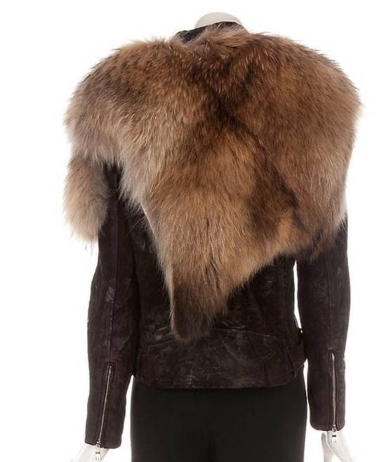 Balmain Waxed Raccoon Fur Suede Biker Leather Jacket Size US XS / EU 42 / 0 - 4