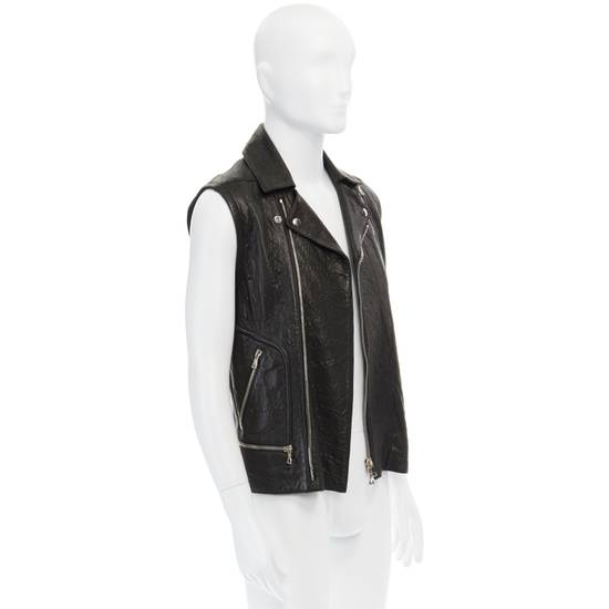 Balmain BALMAIN classic black pebble leather sleeveless biker jacket S FR46 US36 UK36 Size US S / EU 44-46 / 1 - 3