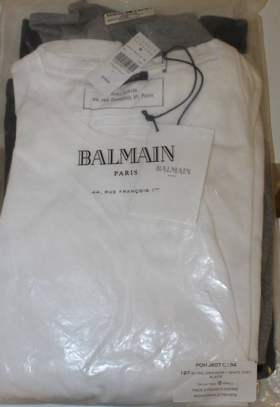 Balmain Balmain 3 Pack Distressed Cotton T-Shirts Size Small Brand New White Black Gray Size US S / EU 44-46 / 1 - 1