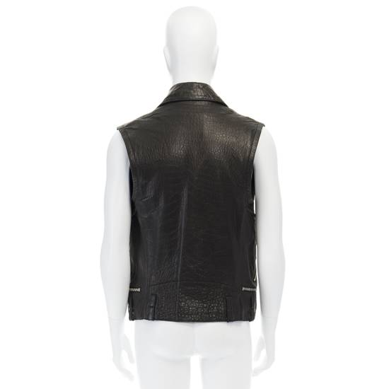 Balmain BALMAIN classic black pebble leather sleeveless biker jacket S FR46 US36 UK36 Size US S / EU 44-46 / 1 - 5