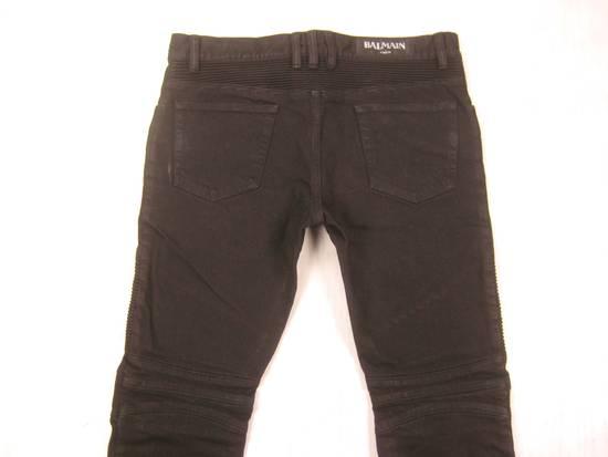Balmain Classic Moto Jeans Made in Japan Style No. W4HT551C710W Black Coated Skinny Stretch Denim Biker Pants 32 x 32 Size US 32 / EU 48 - 18