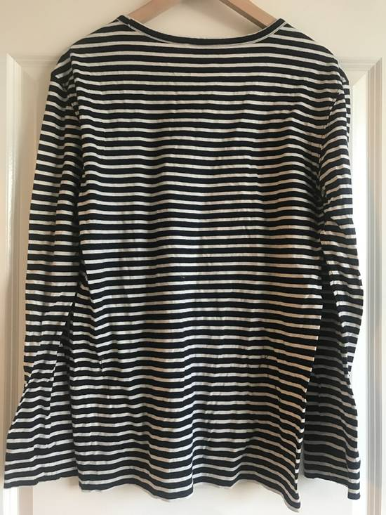 Balmain Navy & White Striped Distress Long Sleeve Shirt Size Large Size US L / EU 52-54 / 3 - 1