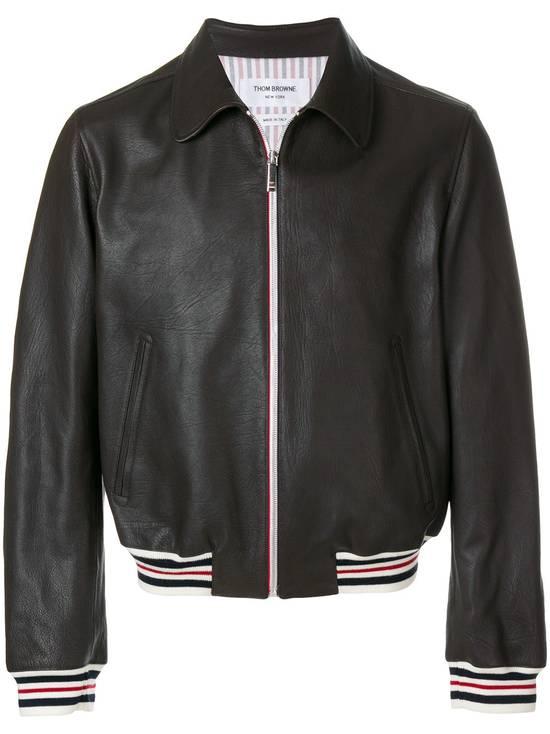 Thom Browne NWT, Striped Detail Leather Jacket (SIZE 4) Size US XL / EU 56 / 4 - 3