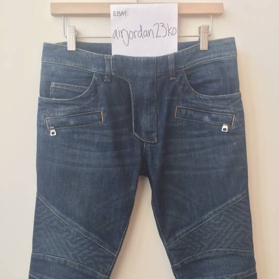 Balmain BLUE GEOMETRIC STRETCH DENIM TRAPUNTO QUILTED BIKER JEANS Size US 29 - 8