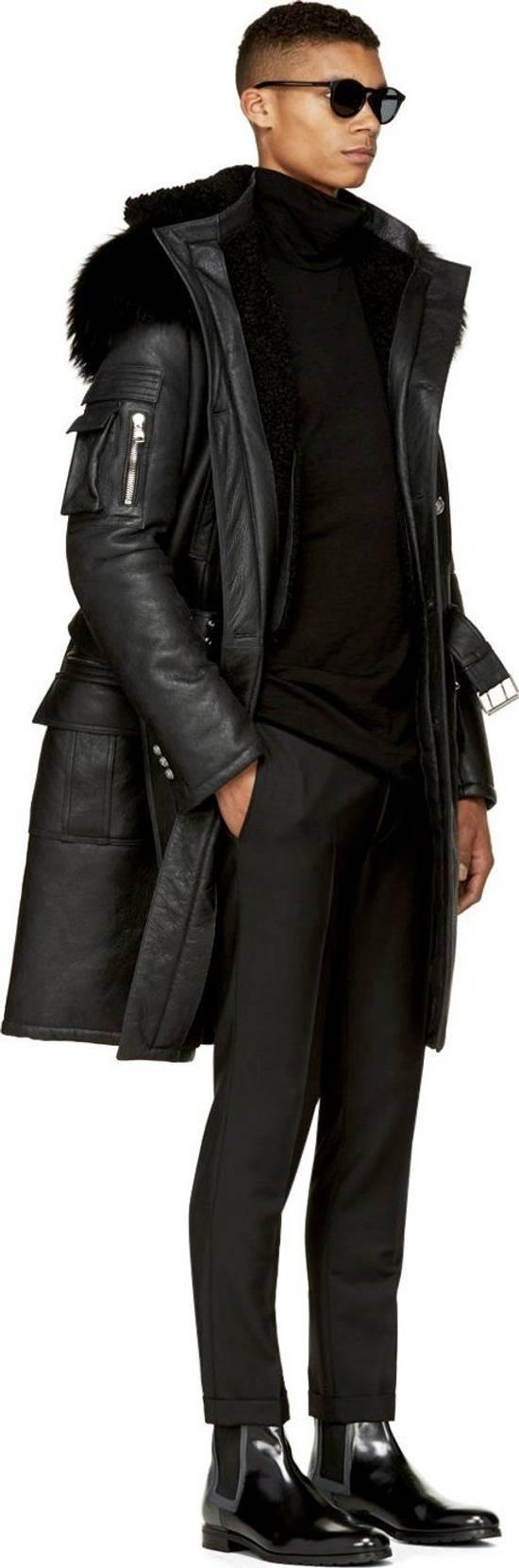 Balmain Balmain Leather Shearling Fur Parka Black Size Small 46-48 Coat Military Size US S / EU 44-46 / 1