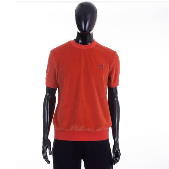 Givenchy Orange Men's Velour Crewneck T-Shirt With 4G Chest Logo Size US M / EU 48-50 / 2