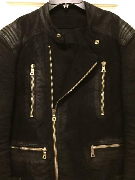 Balmain RARE Waxed Moleskin Biker Jacket Size US L / EU 52-54 / 3 - 8