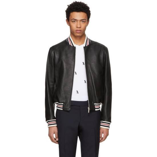 Thom Browne Black Leather Varsity Jacket (NEW W TAG) Size US XS / EU 42 / 0