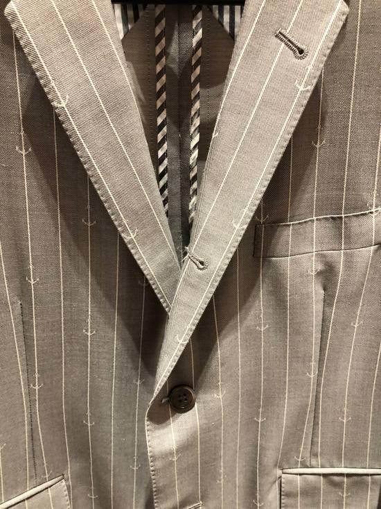 Thom Browne THOM BROWNE CLASSIC BLAZER IN GRAY/WHITE ANCHOR PINSTRIPE Size 40R - 2