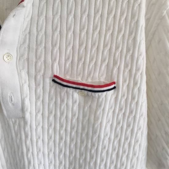Thom Browne WED-THURS SALE $1190 THOM BROWNE CABLE KNIT POLO SHIRT JUMPER NEW rare Size US XL / EU 56 / 4 - 2
