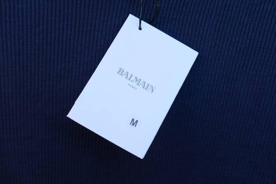 Balmain Blue Ribbed Knit Roll Neck T-shirt Size US M / EU 48-50 / 2 - 4