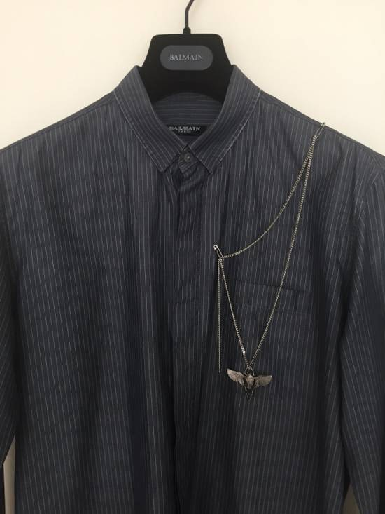 Balmain 11' SS Decarnin Era Grey Strip Distressed Shirt Size US M / EU 48-50 / 2