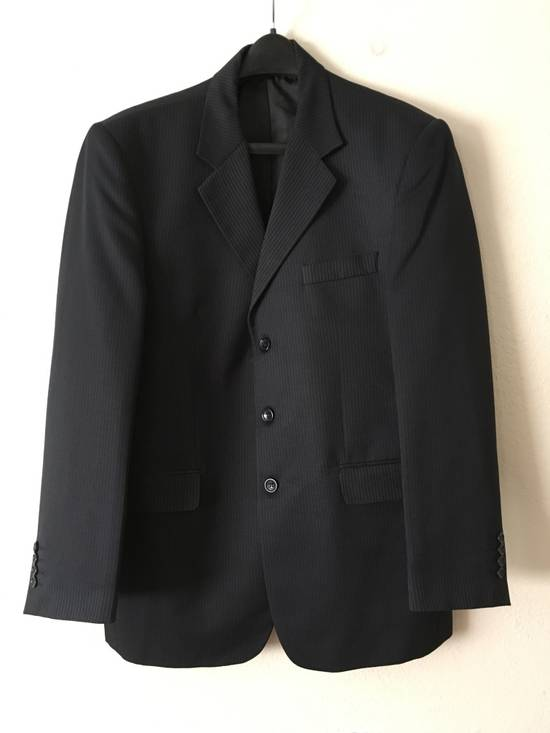 Givenchy GIVENCHY Wool Twill Three Button Navy Pinstripe Suit Jacket Drop 6 Size 42R - 1