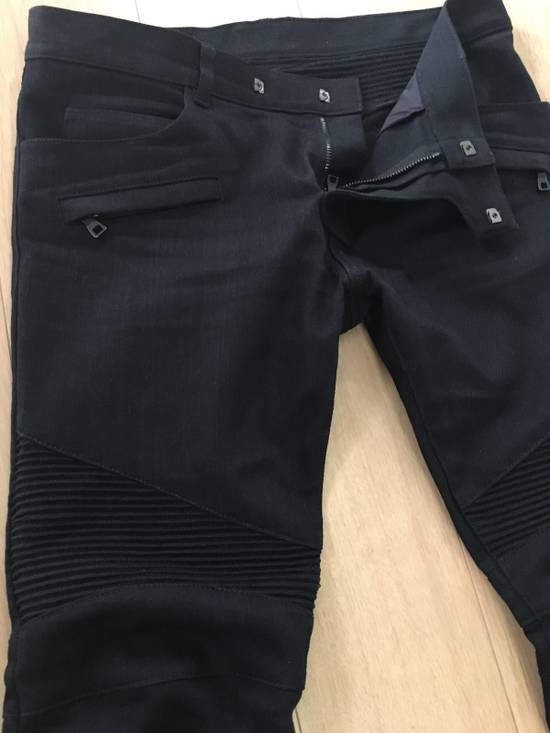 Balmain SS17 Balmain Biker Black Raw Jeans Size US 33 - 2