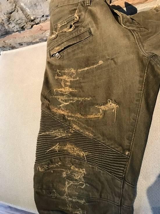 Balmain Balmain khaki destroyed biker jeans Size US 33 - 5