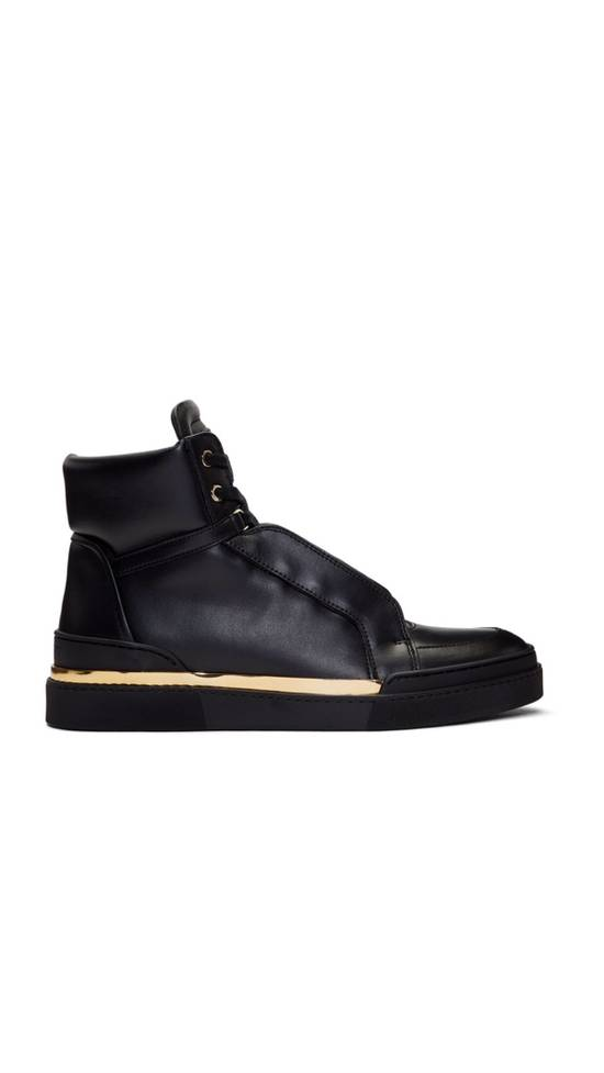 Balmain Balmain Black Leather Atlas High-Top Sneakers Size US 12 / EU 45 - 1