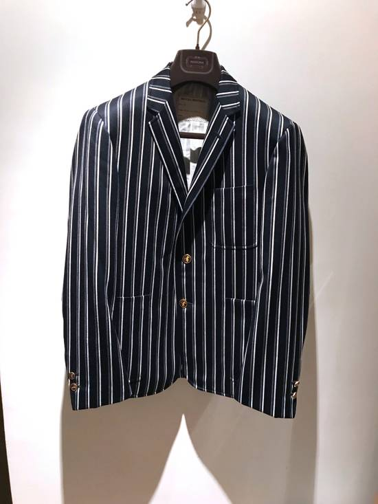 Thom Browne NAVY STRIPED CROPPED PREPPY BLAZER Size 48S