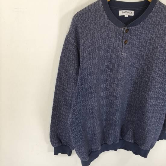 Balmain ( Last Drop ) Vintage 90s BALMAIN Sweatshirt Full Logo Blue Pullover Jumper Size Large Size US L / EU 52-54 / 3 - 3