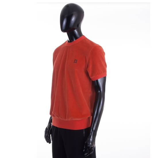 Givenchy Orange Men's Velour Crewneck T-Shirt With 4G Chest Logo Size US S / EU 44-46 / 1 - 1