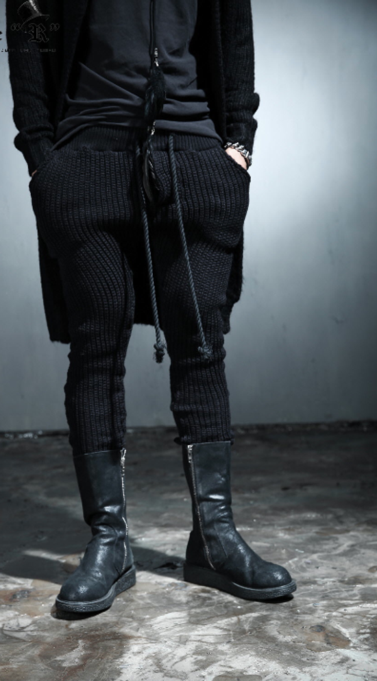 Julius Byther - black julius knit pants - like thom krom, boris bidjan saberi, silent damir doma, rick owens Size US 32 / EU 48