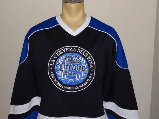 f6ba46f78 ... Corona Corona Extra Mexico Beer black blue   white hockey jersey size  XL Size US XL ...