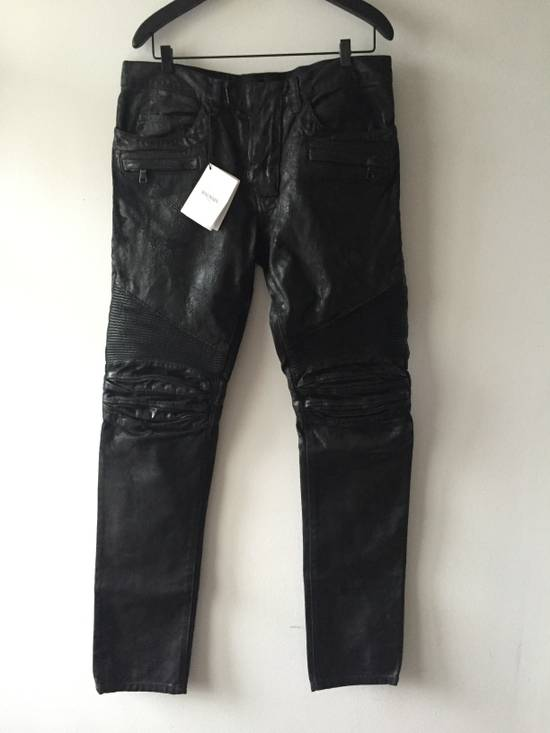 Balmain Balmain leather effect waxed biker Size US 33