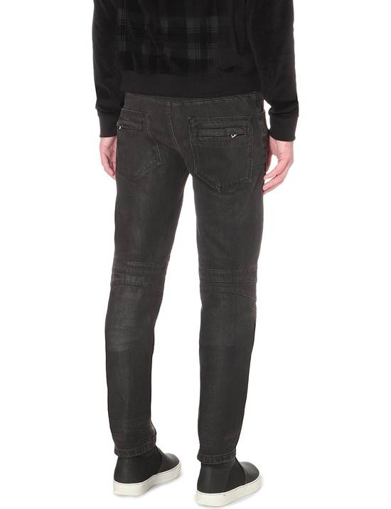 Balmain Black Waxed Biker Jeans Size US 28 / EU 44 - 3