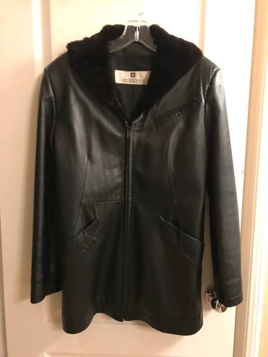 Givenchy Givenchy Woman's Leather Long Jacket with Fur Collar Size US XS / EU 42 / 0