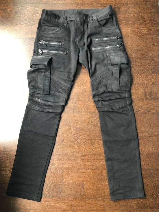 Balmain Black Waxed Bikerjeans Size US 31