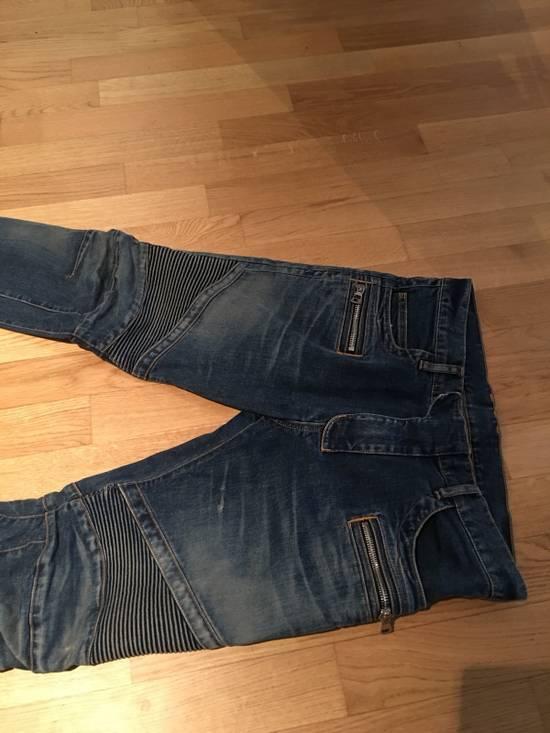 Balmain Balmain Light/Dark Blue Biker Jeans Size US 33 - 2