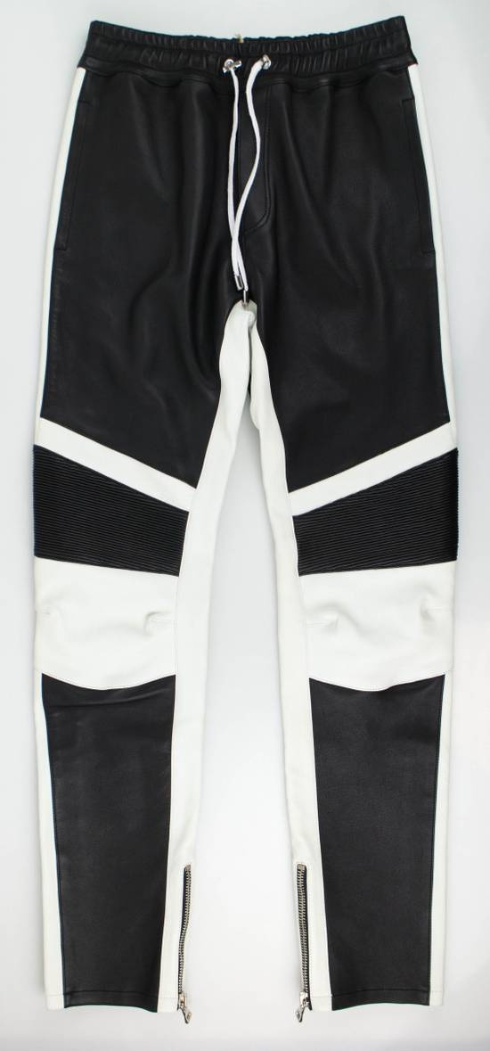 Balmain Black and White Contrast Leather Biker Pants Size XS Size US 30 / EU 46