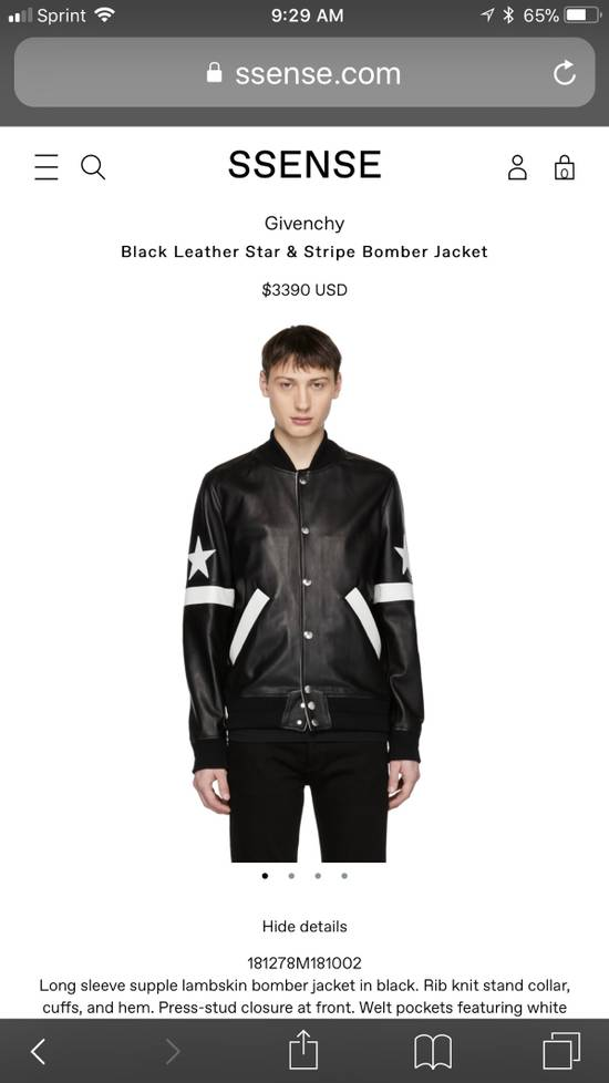 Givenchy Givenchy Black Leather Star And Stripe Bomber Jacket Size US M / EU 48-50 / 2 - 3