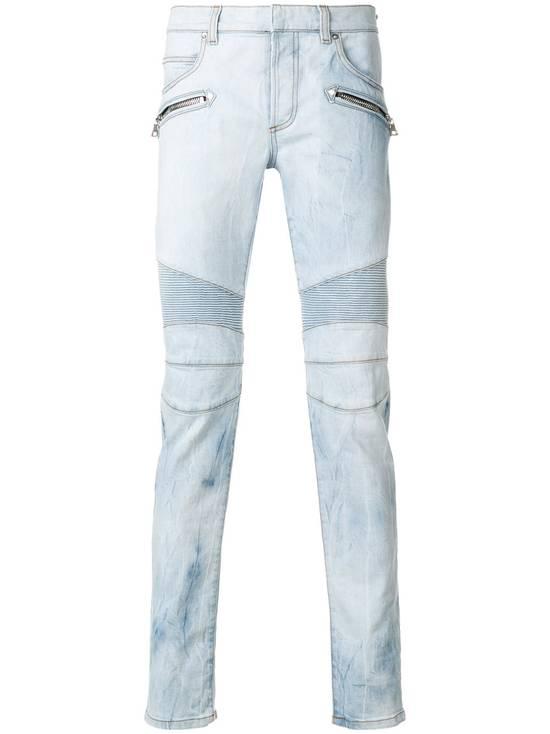 Balmain Light Blue Biker Jeans Size US 27 - 1