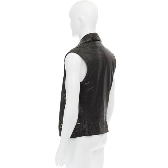 Balmain BALMAIN classic black pebble leather sleeveless biker jacket S FR46 US36 UK36 Size US S / EU 44-46 / 1 - 6