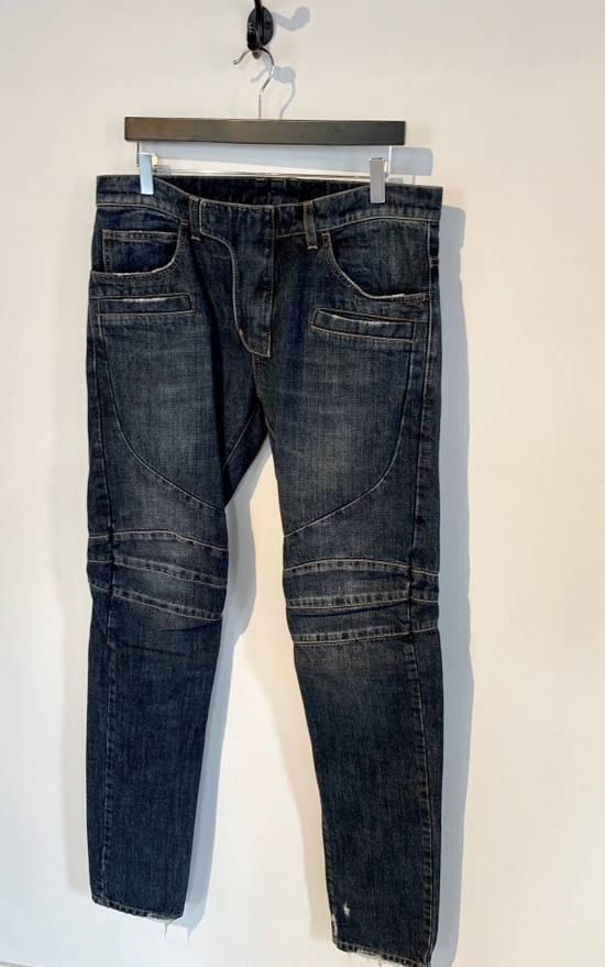 Balmain Balmain Washed Indigo Blue Biker Jeans Size US 32 / EU 48