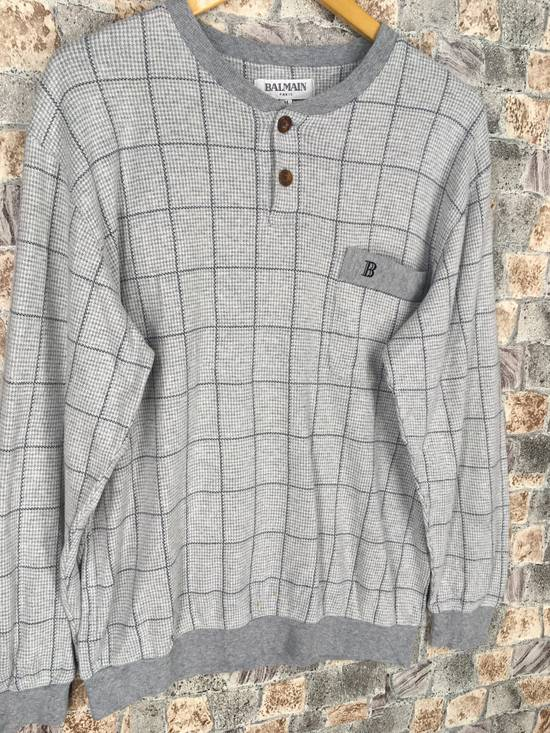 Balmain BALMAIN PARIS Sweatshirt Checkered Medium Gray Vintage 90s Balmain Plaid Checkered Balmain Paris Pullover Jumper Size M Size US M / EU 48-50 / 2 - 4