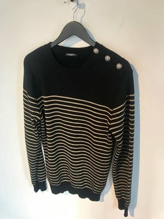 Balmain Balmain Black Gold Striped Wool Sweater Size US L / EU 52-54 / 3