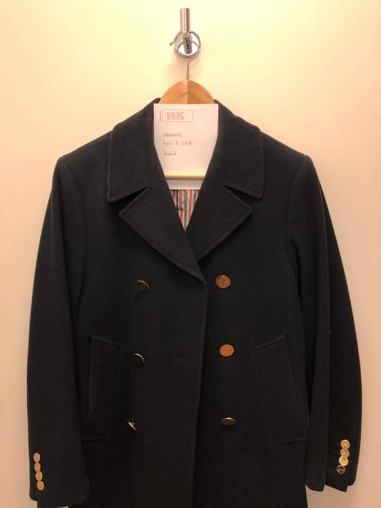 Thom Browne Navy melton wool double-breasted coat Size US XS / EU 42 / 0 - 1