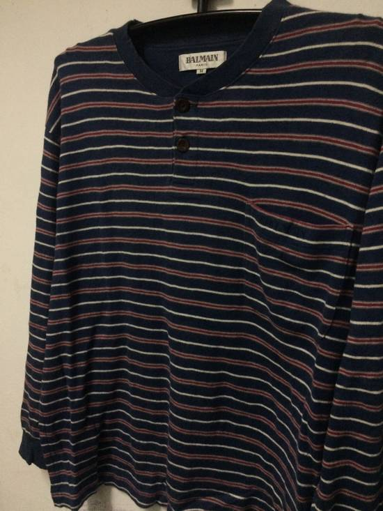 Balmain Stripe L/Sleeve Balmain Pocket T's Large Made in Japan. Size US L / EU 52-54 / 3 - 1
