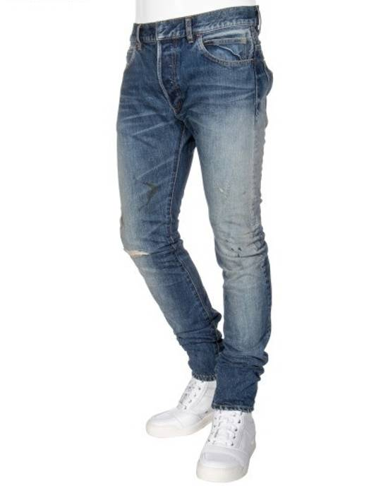 Balmain Knee Rip Blue Faded Twist Jeans(Made in Japan/15.5cm) Very Rare! Size US 29 - 7