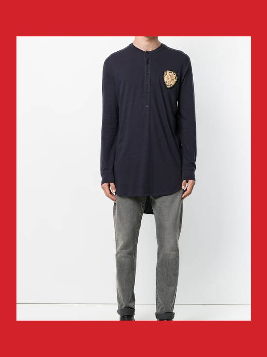 Balmain Cotton and Silk Henley T-Shirt with Embroidery Size US S / EU 44-46 / 1